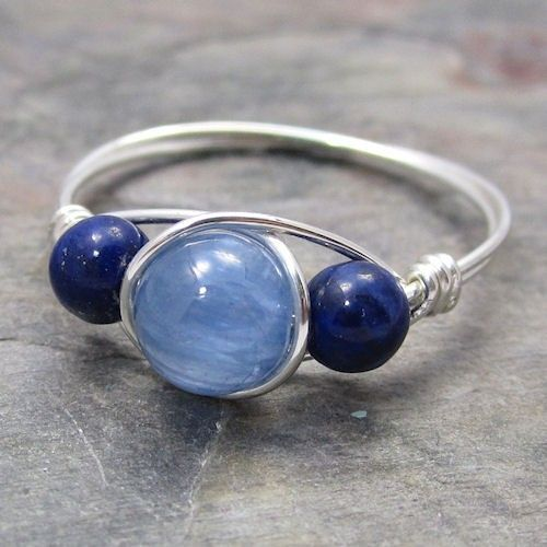 Blue Kyanite & Lapis Lazuli Sterling Silver Wire Wrapped Bead Ring ...