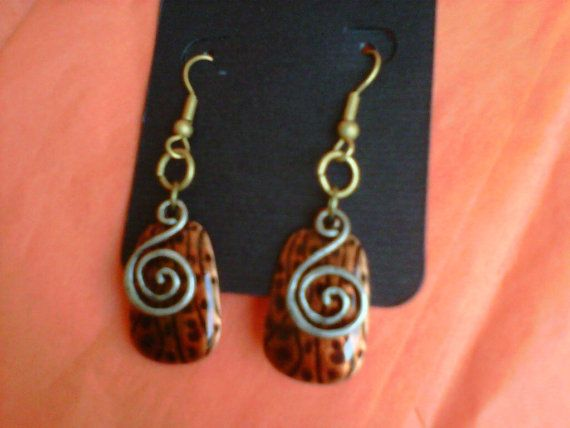 Metal Swirl Earrings Free Shipping and Gift by StixxandStones, $10.99