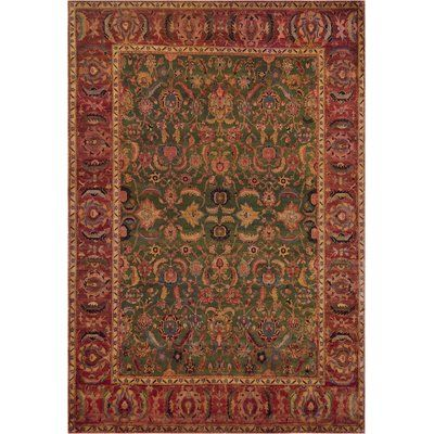 Mansour One Of A Kind Agra Genuine Hand Knotted Wool Green Red Indoor Area Rug Hand Weaving Rugs Beige Area Rugs