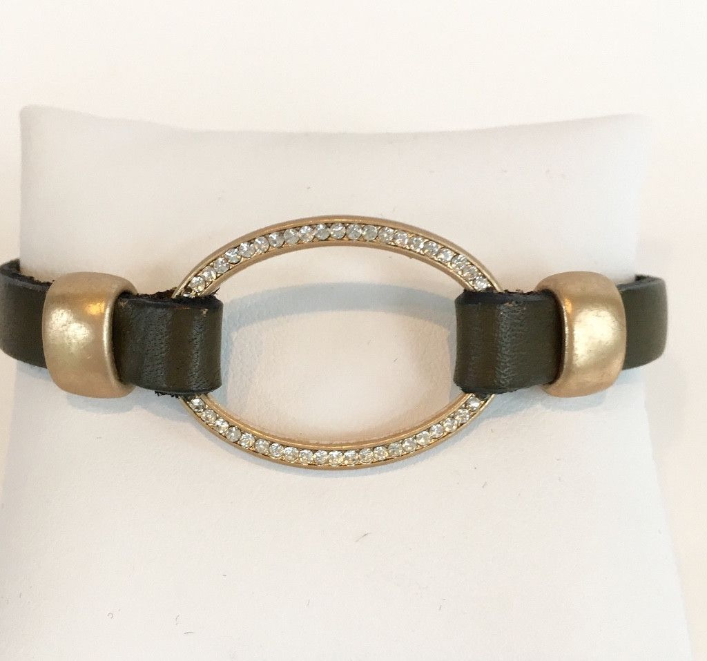 Gold Oval Leather Bracelet