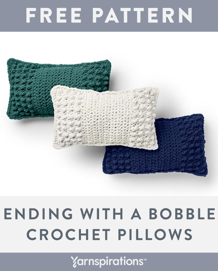 Free Crochet Pillow Pattern Bernat Blanket Yarn Ending With A Bobble Crochet Pillow Yarnspirati Bobble Crochet Crochet Pillow Patterns Free Crochet Pillow