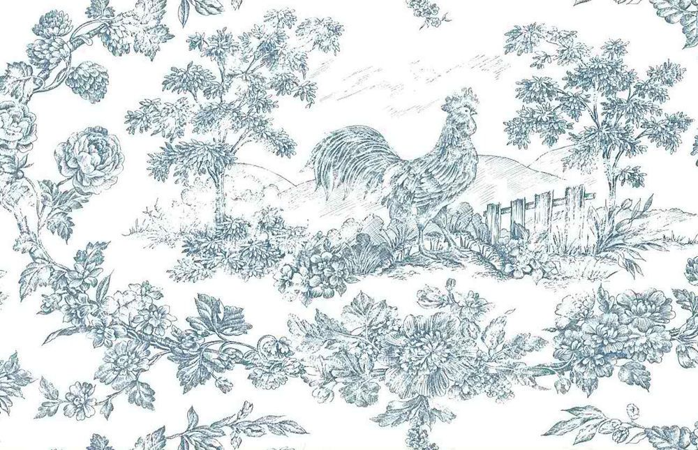 BLUE WHITE KITCHEN TOILE ROOSTER Floral Wallpaper Rolls