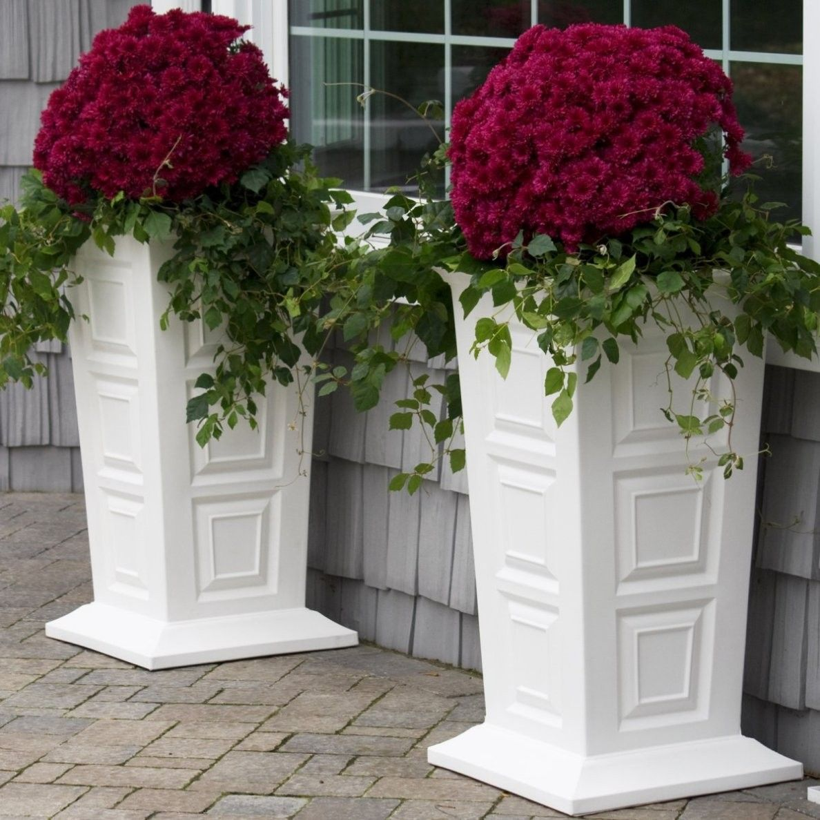 beautiful design flower planter ideas. Charming White Colonial Planter Design With Polyethlene Construction For  Tall Outdoor Flower Planters Ideas Garden Decor Make Your More Beautiful