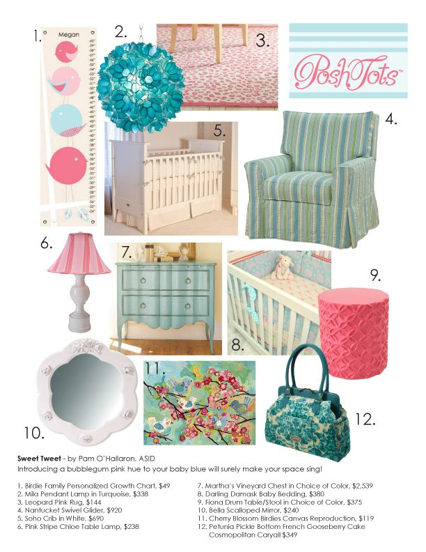 Sweet Tweet: Introducing a bubblegum pink hue to your baby blue will surely make your space sing!
