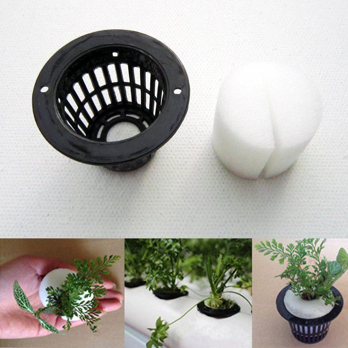 Mesh Pot Net Cup Basket Hydroponic System Garden Plant Cloning Foam Insert Seeds