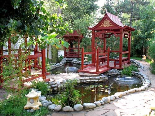 Feng shui tips for house exterior designs small ponds for Asian landscape design