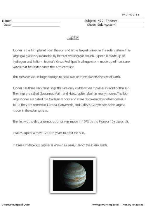 solar system reading comprehension - photo #20