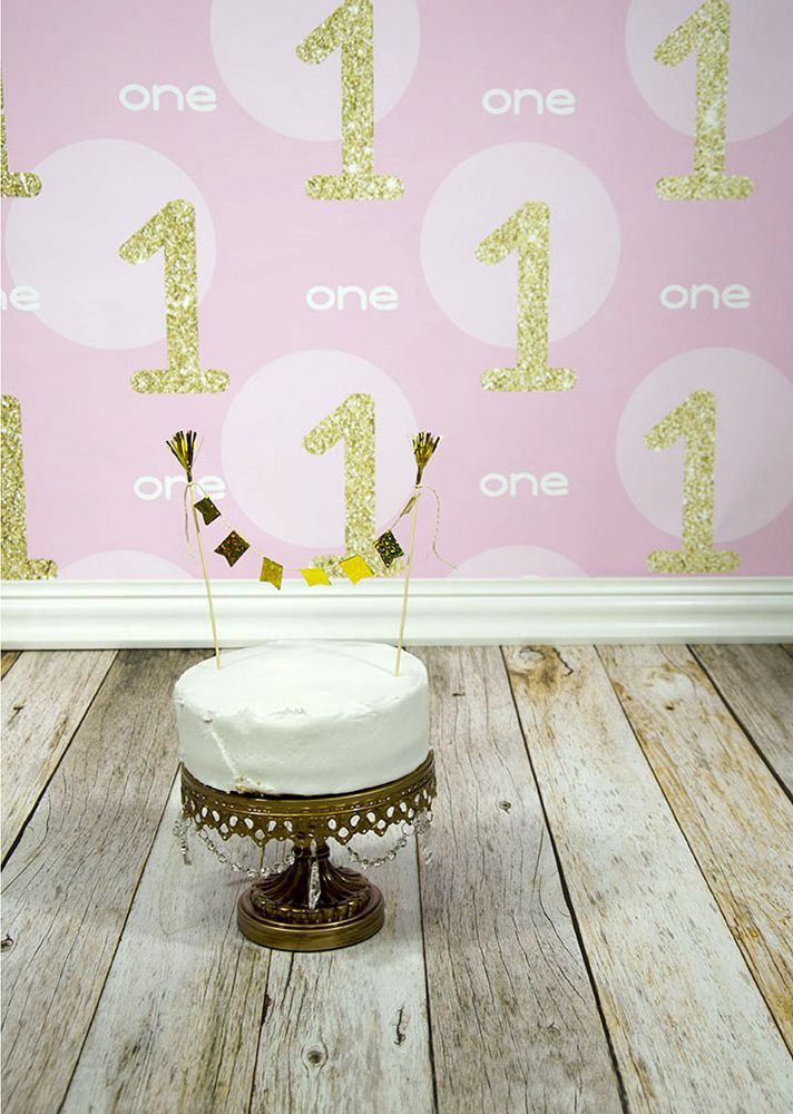 Reclaimed Wood Floordrop with Gold 1st Birthday Backdrop from Backdrop Express - perfect for a cake smash session!