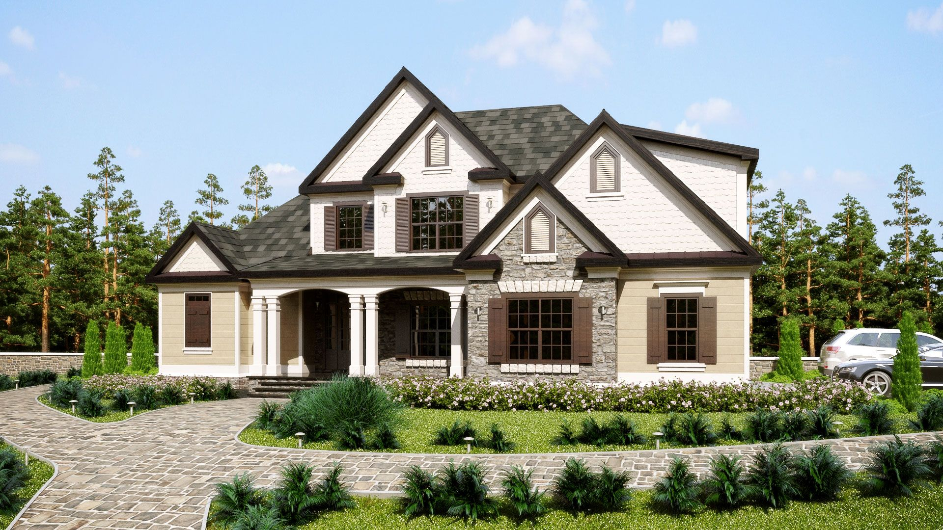 Three Story Southern Style House Plan With Front Porch Southern
