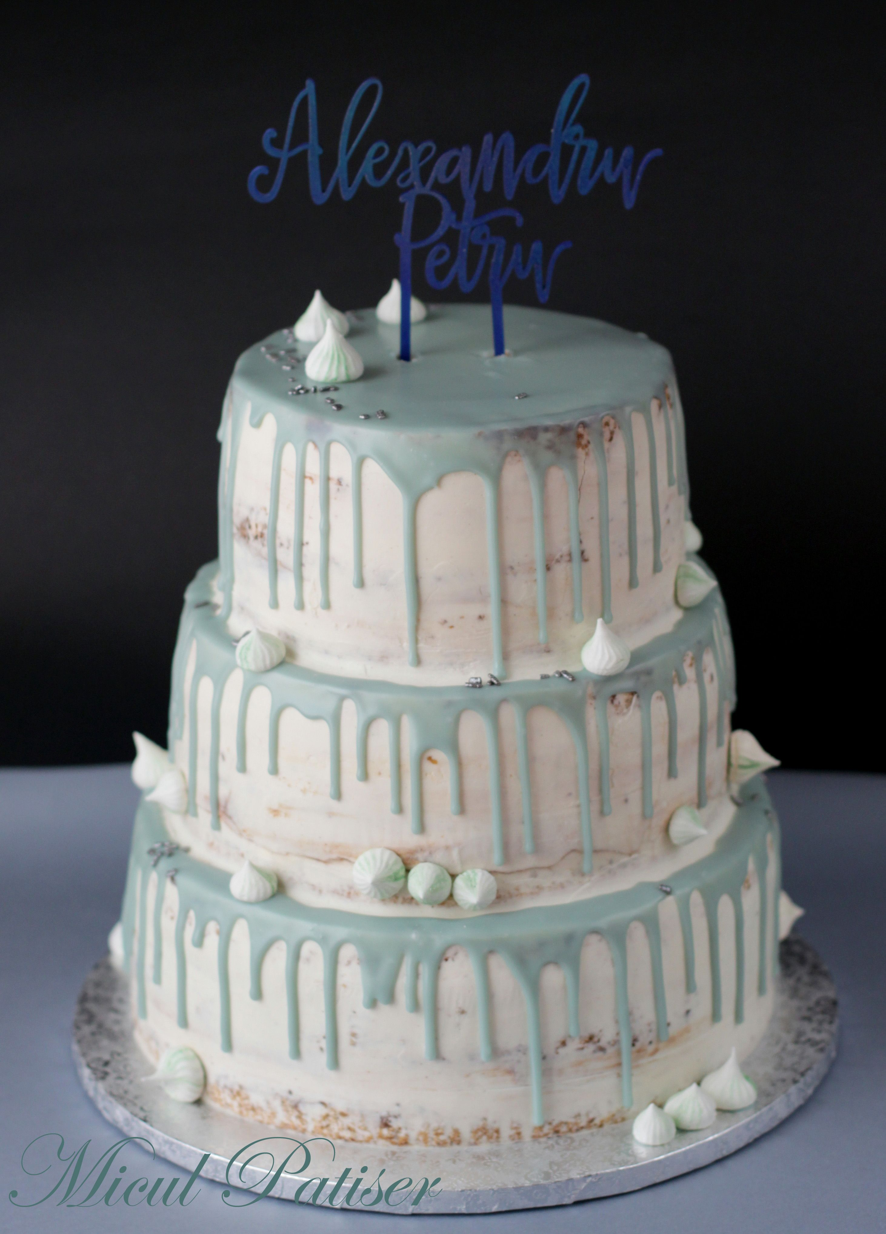 Baby Boy Baptize Cake Name Topper Blue Drip Cake
