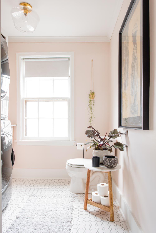 Design Sponge Lauren And Austin S Laundry Room Reno Pink Laundry Rooms Bathroom Paint Design Laundry Room Renovation