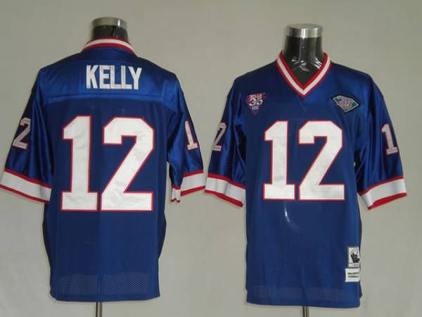 wholesale dealer 195cf b0be4 Mitchell and Ness Buffalo Bills 12 Jim Kelly Blue 35th ...