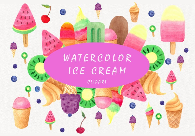 Watercolor Popsicles Clipart Ice Cream Desserts Clipart Etsy Kool Aid Clip Art Ice Cream