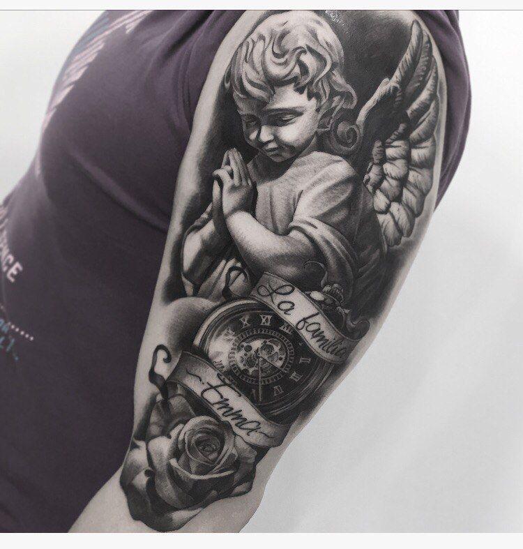 Angel Tattoo on shoulder black and grey by Artem