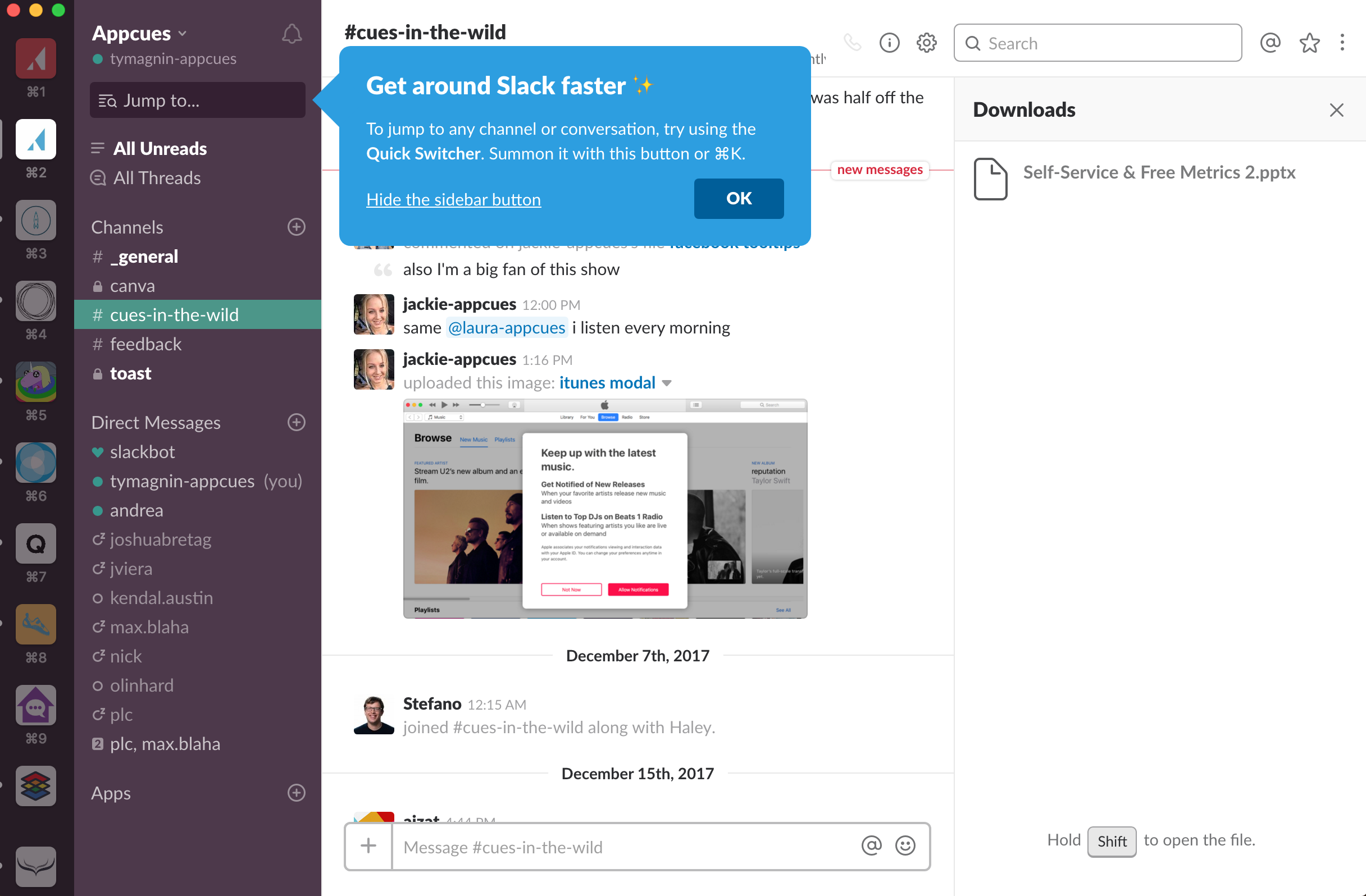 Slack Uses An Action Driven Tooltip To Educate First Time Users Onboarding Slacks Top Software