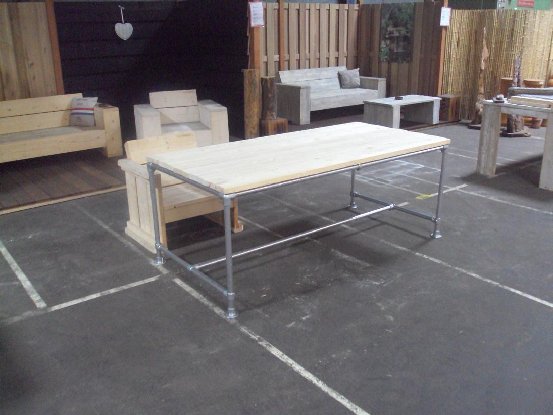 Tafel Steigerhout Goedkoop : Bouwtekening tafel steigerpijp diy furniture porch and woods