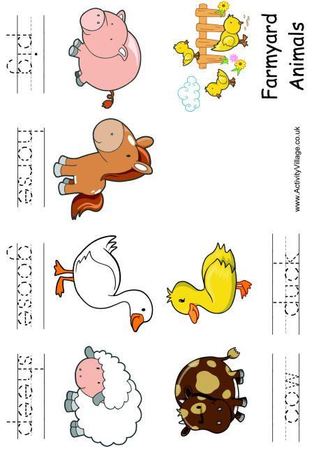 Farm animal booklet - handwriting