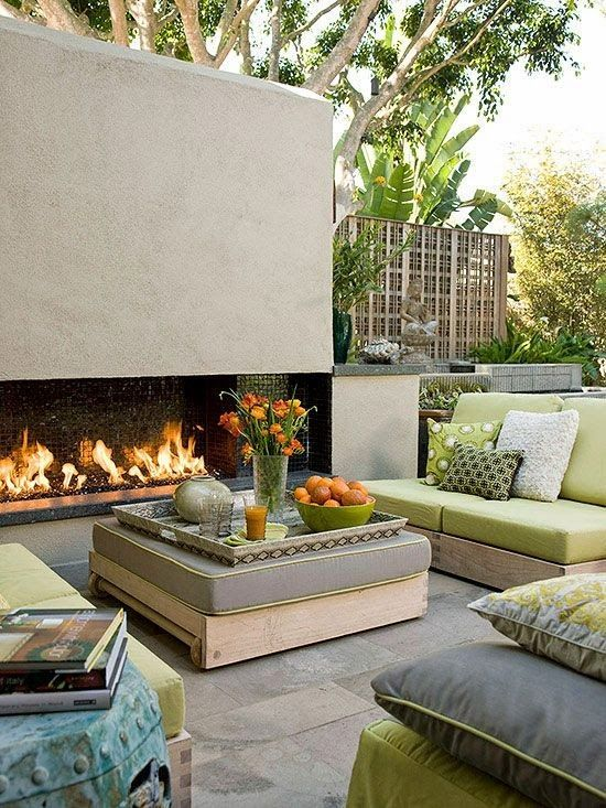 Beautiful outdoor space love the fireplace photo better homes and gardens also rh ar pinterest