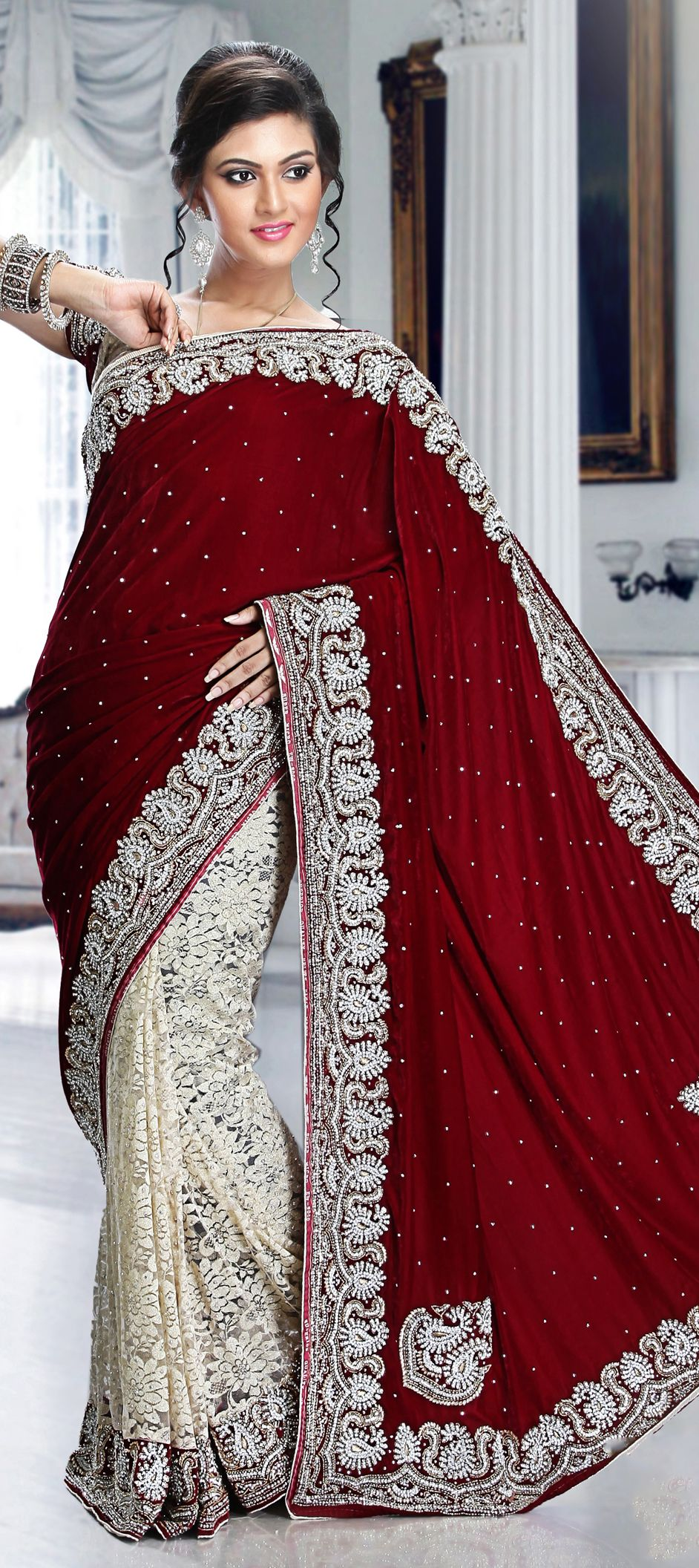 Hindu wedding dress   Red and Maroon White and Off White color family Bridal