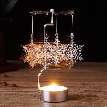 Hot Spinning Rotary Metal Carousel Tea Light Candle Holder Stand - christmas carousel decoration