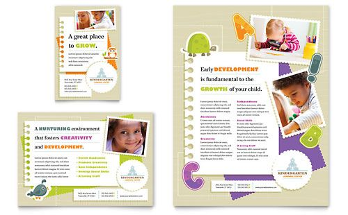 Kindergarten Flyer \ Ad - Microsoft Word Template \ Publisher - brochure format word