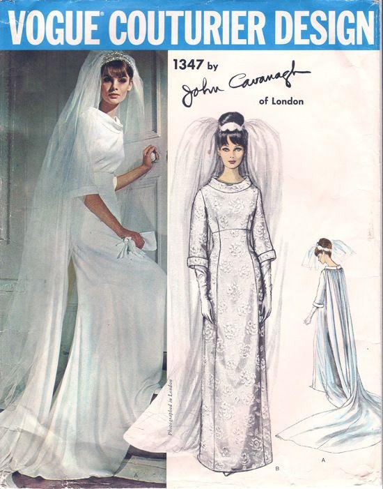 1960s John Cavanagh wedding dress pattern - Vogue 1347
