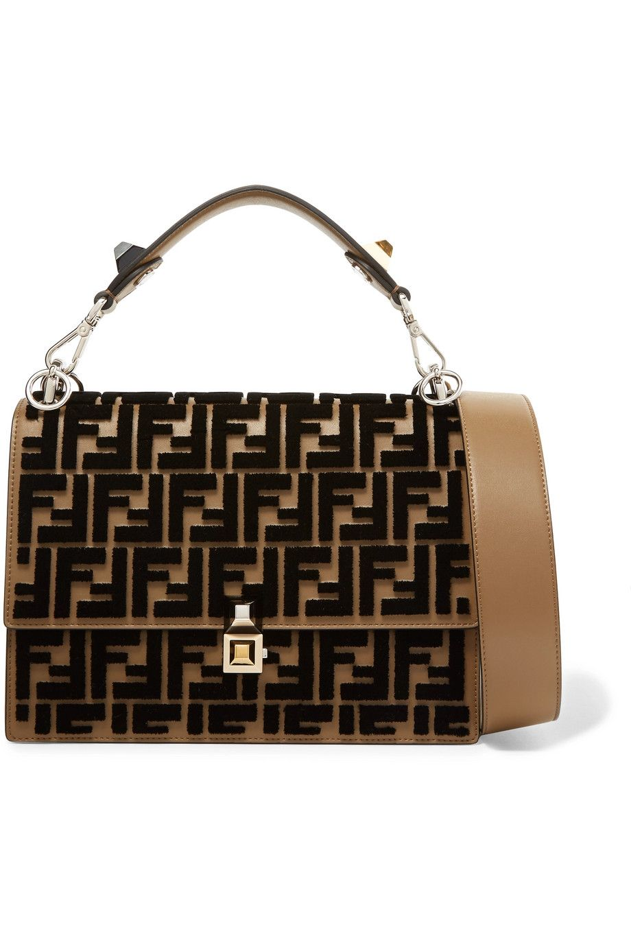 68c67e310f Fendi s  Kan I  bag is made from smooth tan leather flocked with Karl  Lagerfeld s signature double  F  logo in black – the motif first appeared  in the  60s.