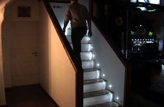 Diy Interactive Led Stair Lighting Diy Stairs Basement Stairs Stair Lighting