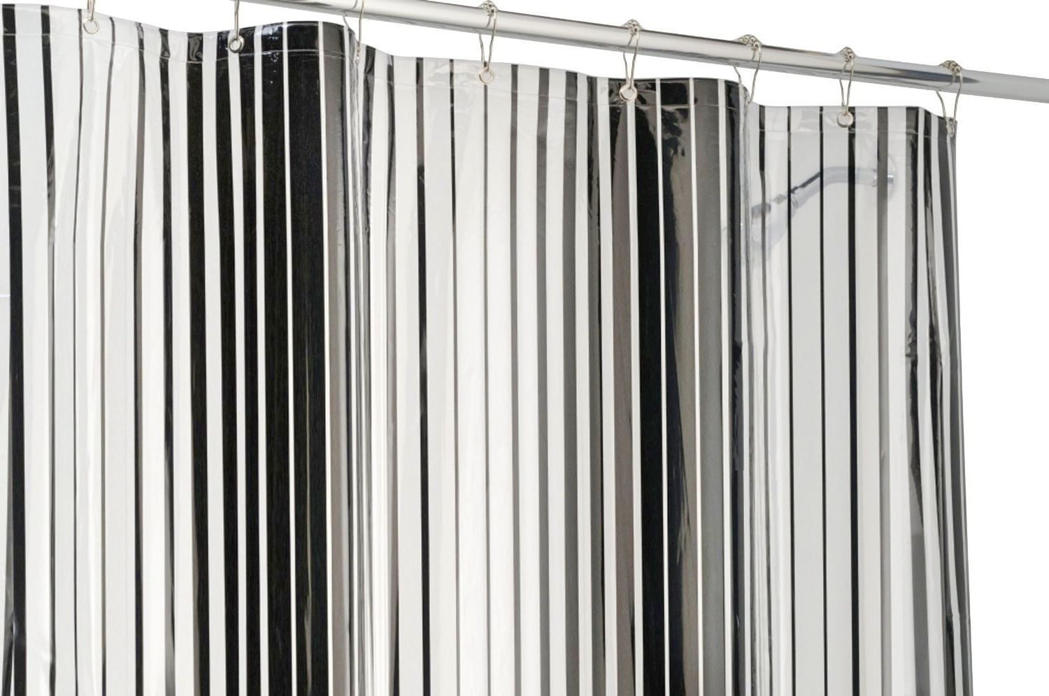 Black And White Striped Fabric Shower Curtains Black And White