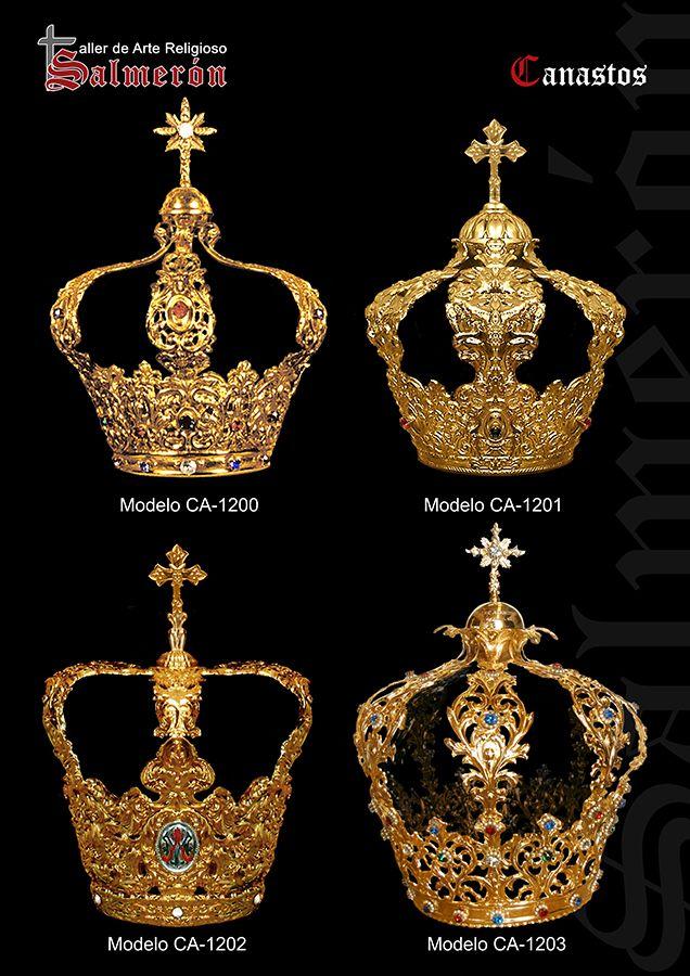 Canastos. Coronas orfebreria. Metal, plata, oro. Corona