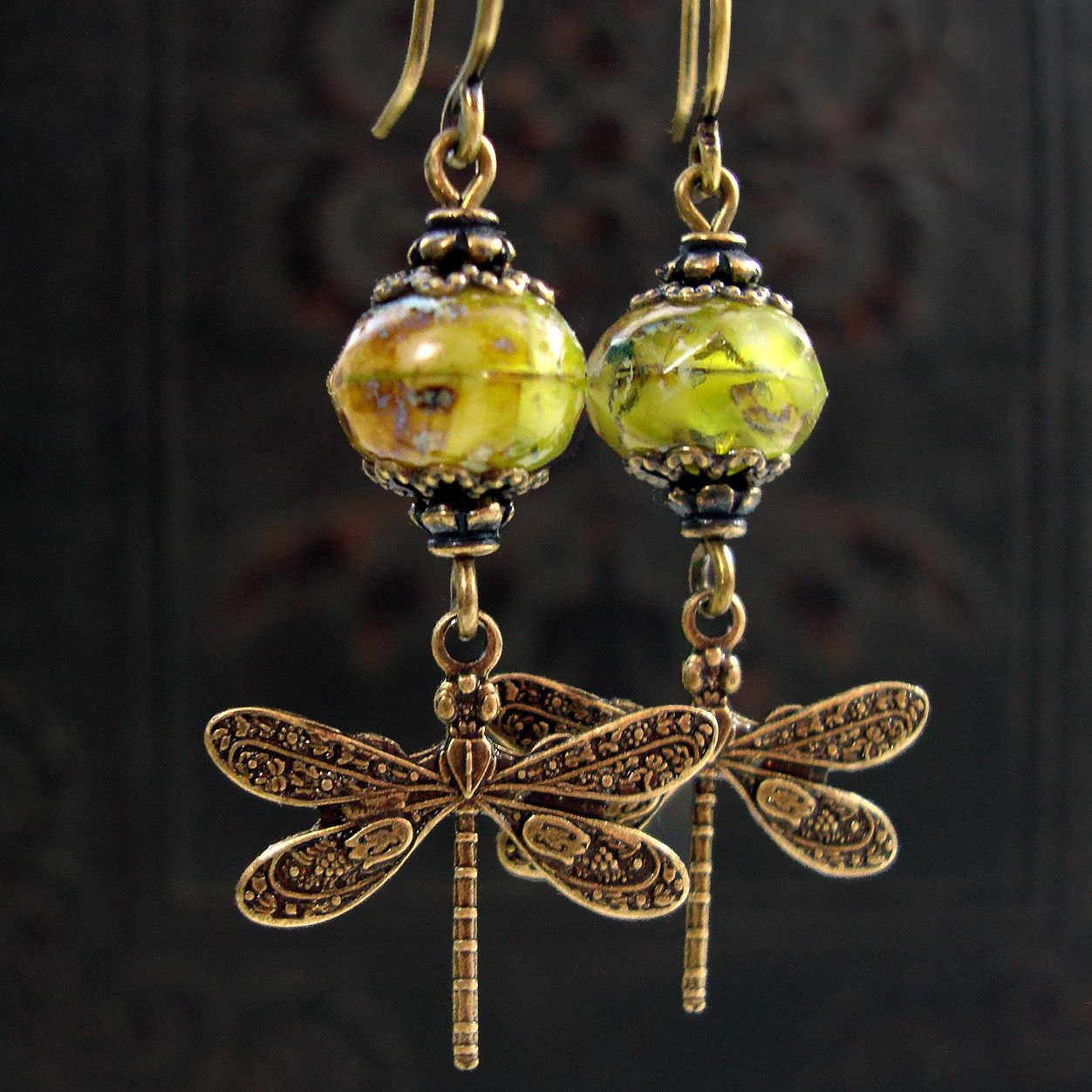 2e868be9f Swirly Green Victorian Dragonfly Earrings - Antiqued brass and hand made  artisan Czech glass beads. Nature inspired jewelry by Ardent Hearts Designs.