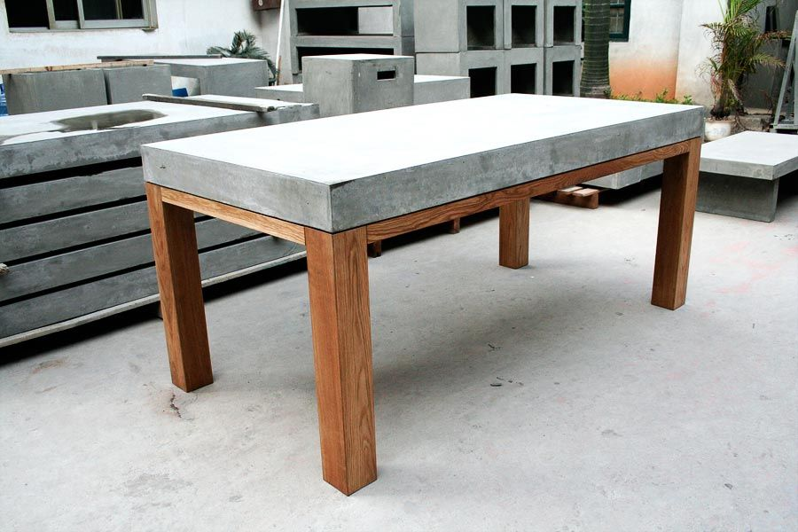 D-09047B concrete dining table with oak legs