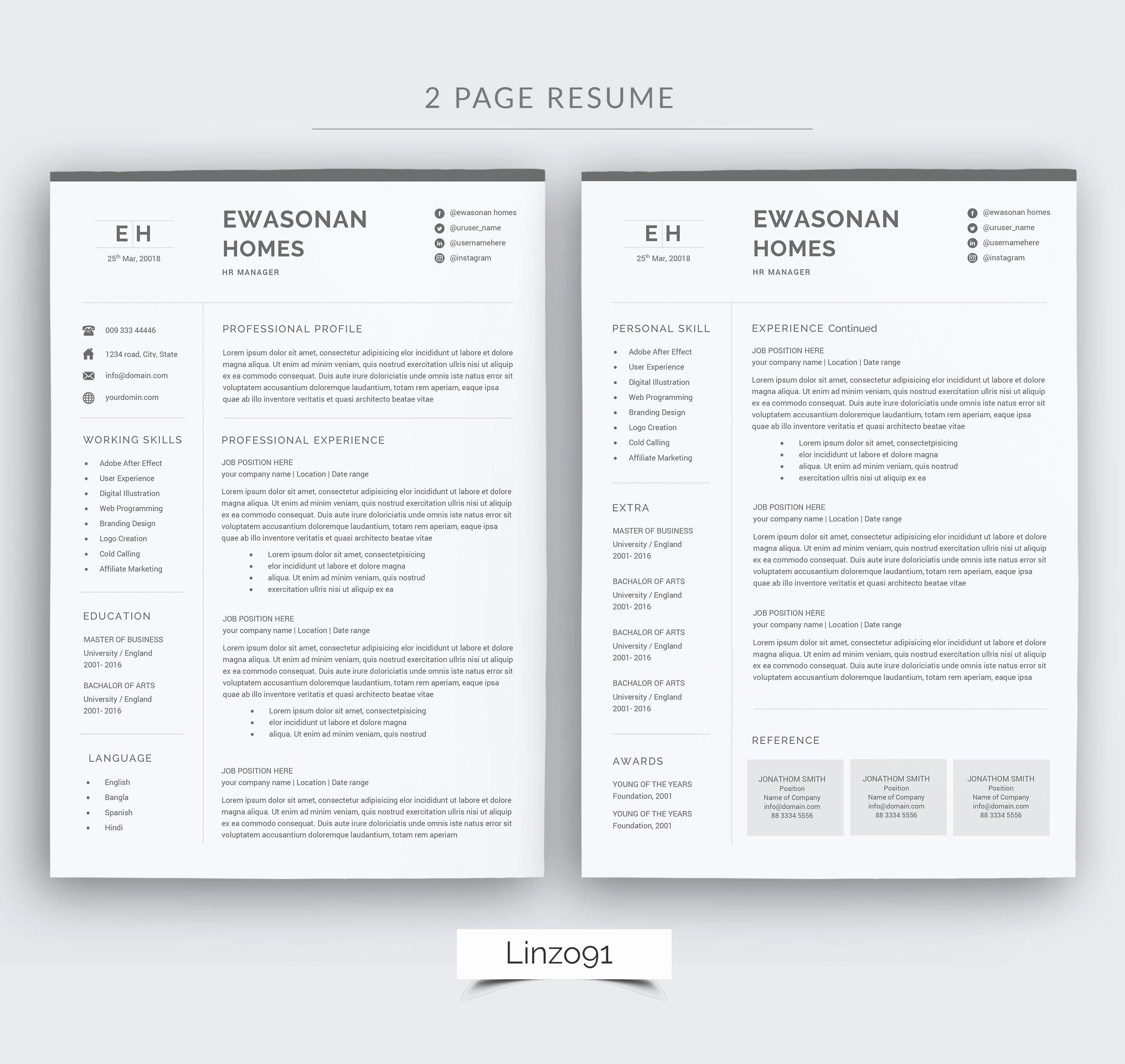 2 Page Resume format Inspirational Minimal Resume 3 Pages