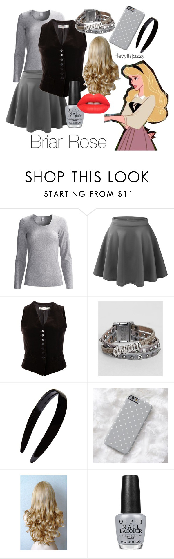 """""""Outfit 26 - Briar Rose"""" by heyyitsjazzy ❤ liked on Polyvore featuring CALIDA, LE3NO, Yves Saint Laurent, Good Work(s), France Luxe, Disney, OPI and Lime Crime"""