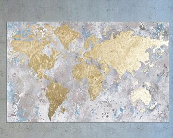 Gold leaf painting world map wall art map of the world office gold leaf painting world map wall art map of the world office decor gumiabroncs Gallery