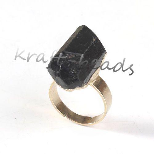 Natural Druzy Black Tourmaline Stone Random Shape Adjustable Finger Ring Jewelry Ebay Black Tourmaline Ring Black Tourmaline Stone Jewelry Rings