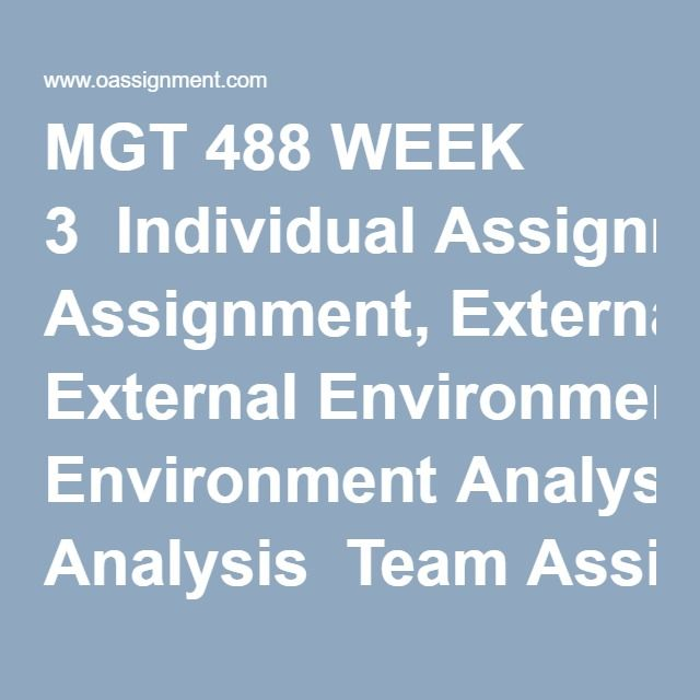 Mgt  Week  Individual Assignment External Environment