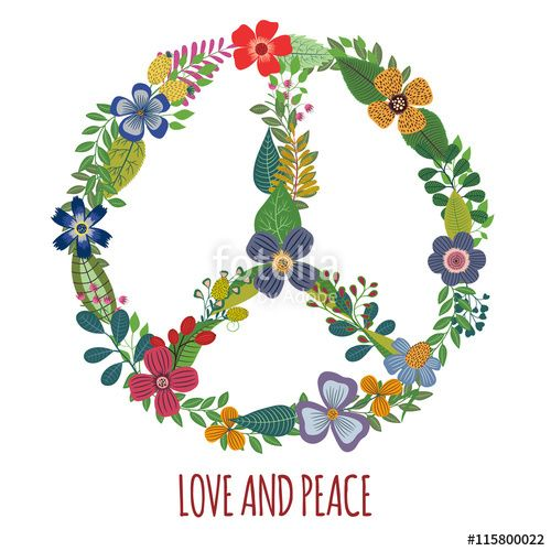 Download The Royalty Free Vector Peace Symbol With Colorful Flowers