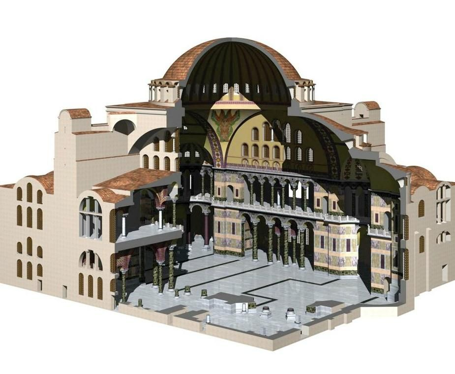 cutaway view of Hagia Sophia - The Church of the Holy ...