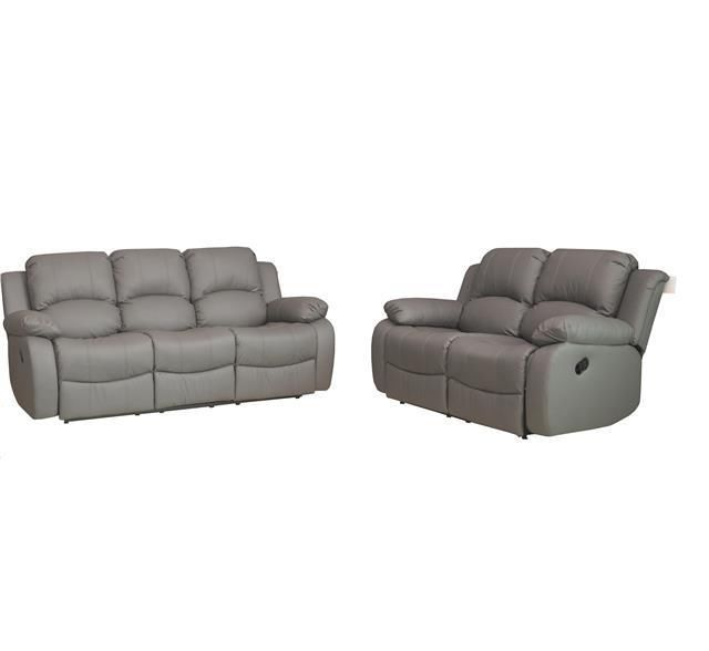 Valencia 3 2 Leather Recliner Sofa Suite Grey Reclining Sofa Leather Recliner