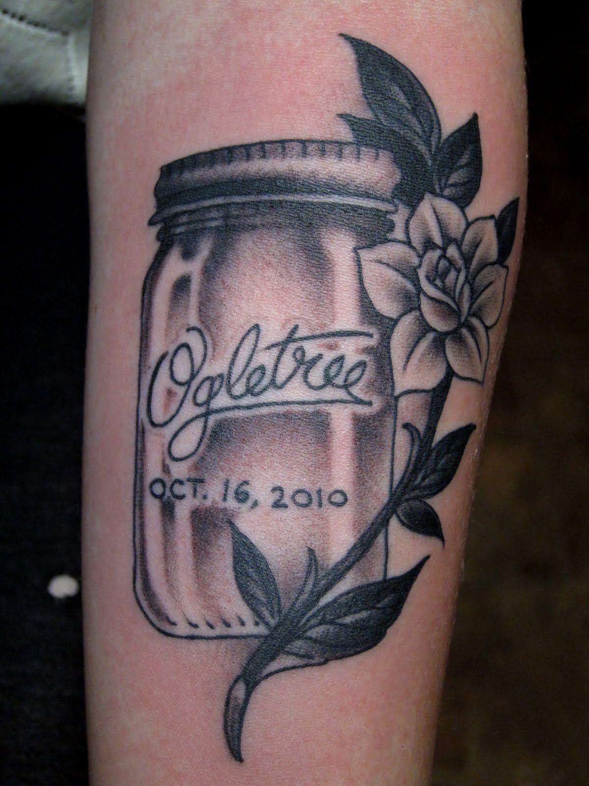 jelly jar tattoo Mason jar tattoo, Tattoos, Traditional