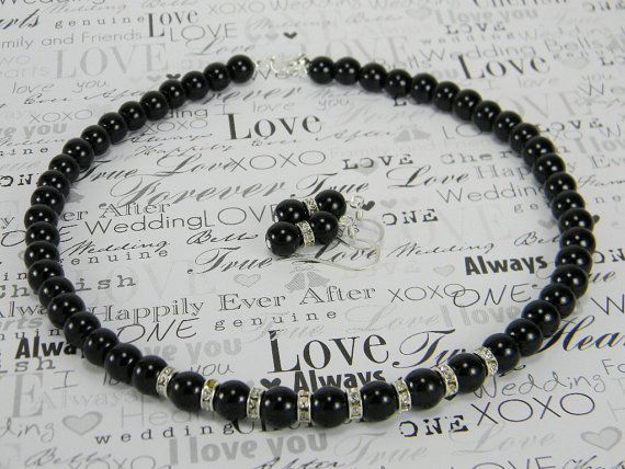 Chantelle  Black Pearl Necklace and Earring by BridalTreasures4U, $20.00