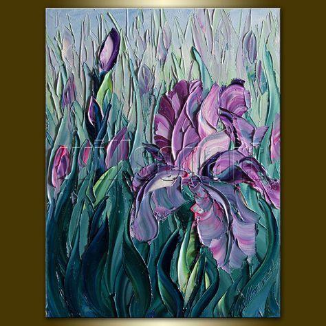 Iris Irises Modern Flower Canvas Oil Painting Textured Palette Knife Contemporary Original Art 12x16 By Willson Lau Flower Canvas Iris Painting Flower Art