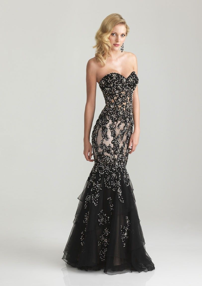 Mermaid strapless sweetheart floorlength chiffon evening dresses