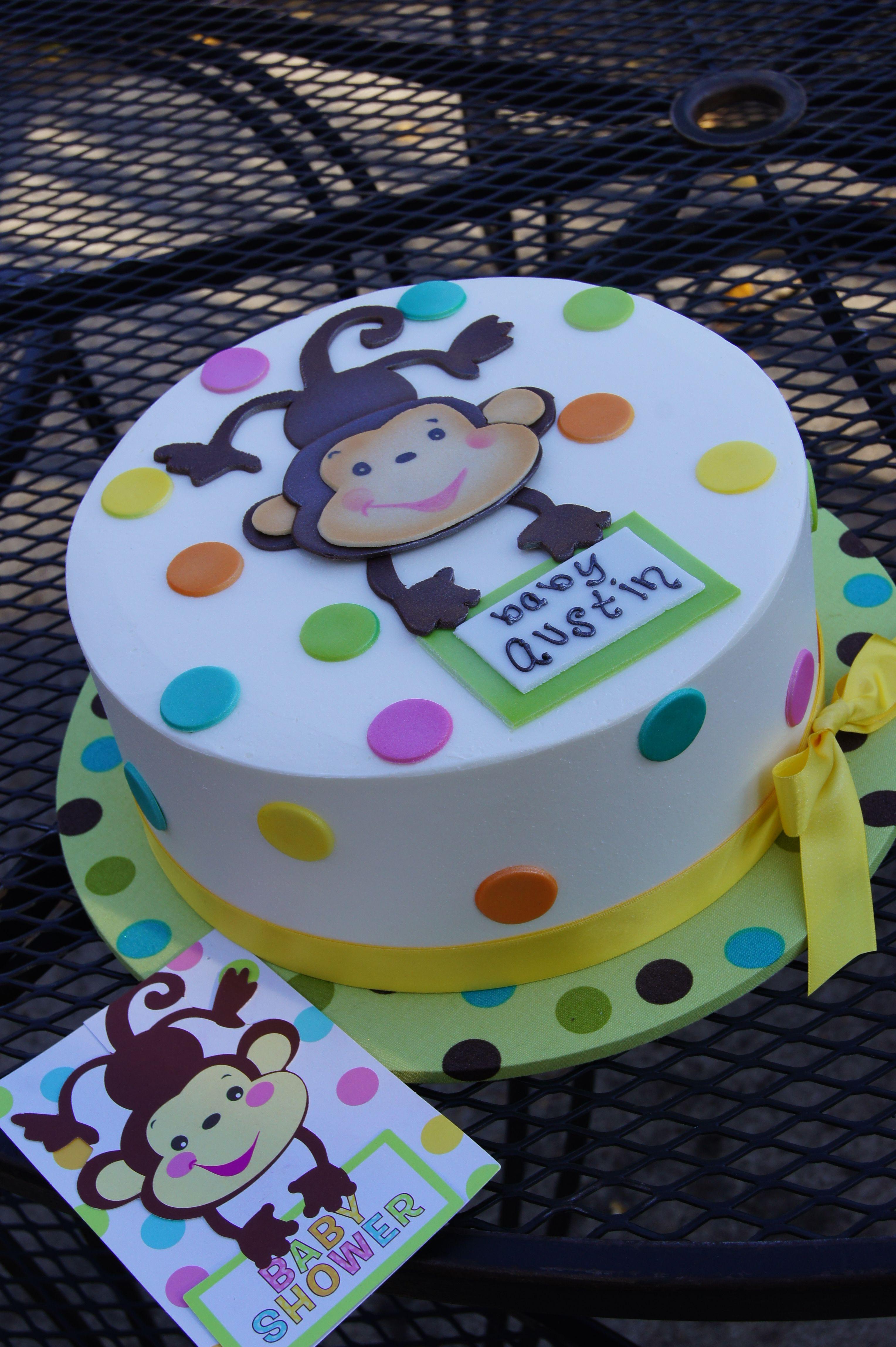Invitation Matching Polka Dot Monkey Baby Shower Cake Baby Shower