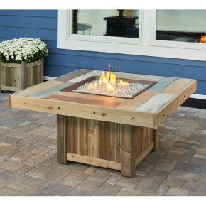 Outdoor Greatroom Vintage Fire Table With Optional Glass Guard   Fire Pits  At Hayneedle