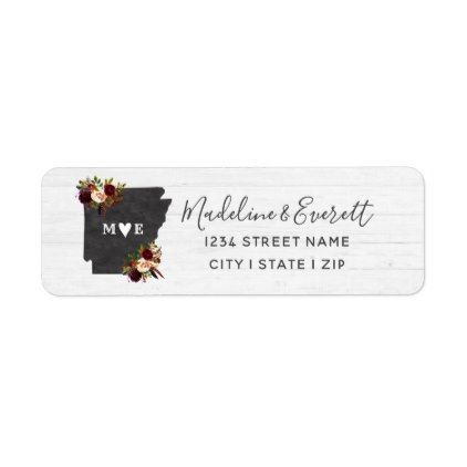 arkansas state destination wedding return address label script