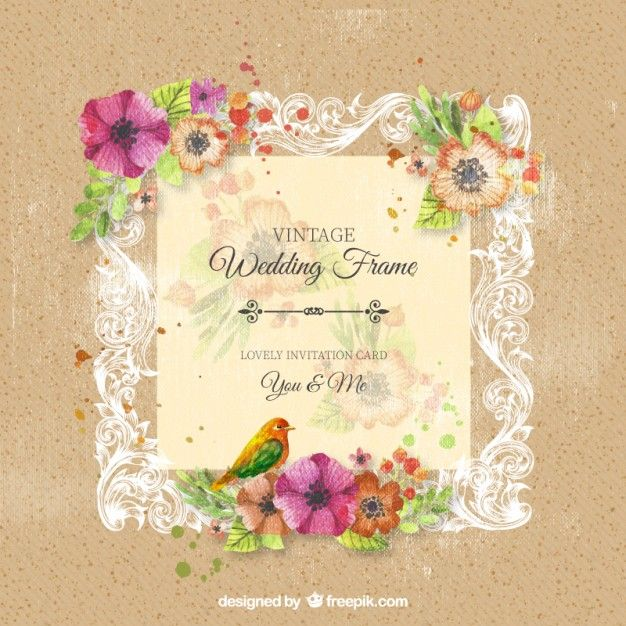 Quadro do casamento ornamental do vintage flores