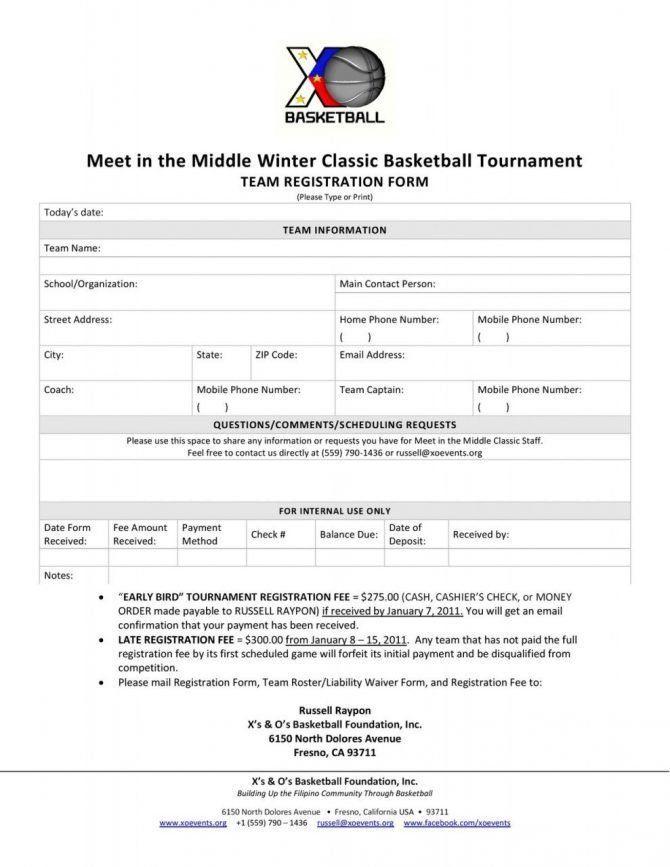 Unique 3 Basketball Tournament Registration Form Template