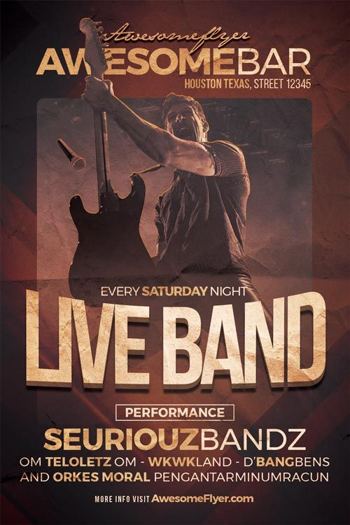 Live Band Flyer Template - https\/\/ffflyer\/live-band-flyer - band flyer template